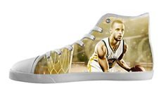 Custom Stephen Curry Canvas Shoes Men's High-Top Lace-up Rubber White Casual Sneakers-12M(US) - Brought to you by Avarsha.com