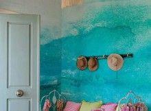 batik duvar boyama ornekleri iki renkli duvar boyasi dalgali duvarlar turkuaz