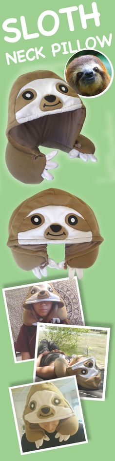 Sloth neck pillow. Perfect for traveling and chilling on the grass!