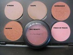 MAC blush - Top row: Strada, Taupe, Sunbasque - Bottom row: Margin, Shy Beauty, Pinch o Peach