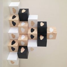 Wooden Shape Play Cubes - Black, White and Wooden