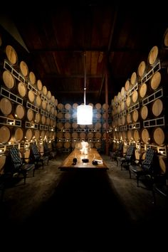 Intimate private wine tasting room. I love the traditional chairs and the dim lighting. Raymond Winery in Napa Valley