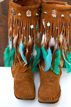 HOLIDAY SALE AMADAHY Forest Water Bohemian Upcycled Embellished Vintage Moccasin Fringe Boots Size 8.5. via Etsy.