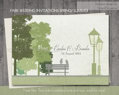 Rustic Spring Summer Wedding Invitations - Park Bench love Birds and Lamp Posts  by NotedOccasions, $45.00