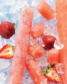 Prosecco & Rum Strawberry Boozy Ice Pops - FOR ADULTS ONLY - Via Sweet Paul Magazine