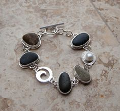 Sterling Silver Beach Stone Bracelet by KMallaby on Etsy, $280.00