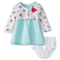 Newborn Girls' Stripe Dress Set Playful Coral