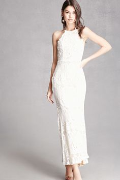 FOREVER 21+ Lace Halter Neck Maxi Dress