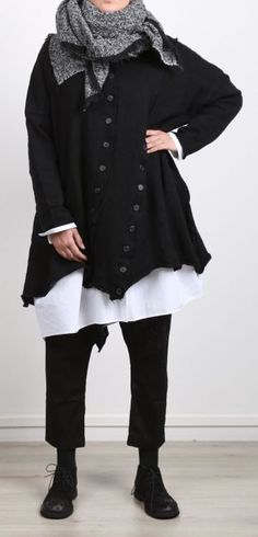 rundholz black label - Stricktunika mit Knopfleiste gekochte Wolle Oversize black - Winter 2017