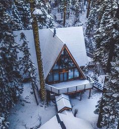 Architecture – Come Hideaway in Lake George, NY Chalet Design, A Frame Cabin, A Frame House, Cabin Homes, Log Homes, Chalet Canada, Ideas De Cabina, Cabin In The Woods, Cabins In The Mountains