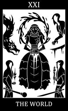 Bloodborne fanart, Bloodborne Tarot Cards.  •          XXI - The World - Yharnam, Pthumerian Queen  Two cards left now :P