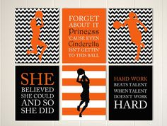 Basketball girl, basketball wall art, basketball player, inspirational quote art, girls quotes wall art, sports art for girls, set of 6 by PicabooArtStudio