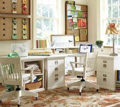 "I really like this for my writing room. I like the pin boards and would utilize them for keeping track of the massive amounts of random bits of ""ideas"" on paper I have now. Pottery Barn Office, Home Office Furniture, Home Office Decor, Home Decor, Desk Redo, Study Office, Office Desk, January 27, Office Organization"