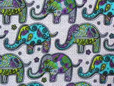 Elephant Fabric / Mosaic Elephant Fabric  / Retro Paisley Print. (Pinning photo from etsy, but I just purchased this fabric at Joann's for $4.99/yd)