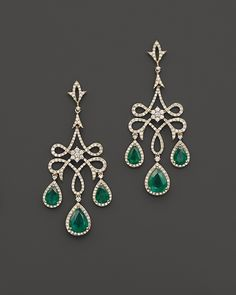Bloomingdale's Emerald and Diamond Chandelier Earrings in 14K Yellow Gold on shopstyle.com