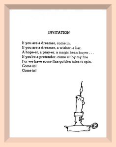 Invitation By Shel Silverstein Getting This Little Candlestick In