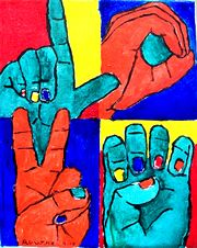 Nancy Rourke Paintings — Deaf History, Deaf Culture and Deafhood Sign Language Art, American Sign Language, Frases Libra, Deaf Quotes, Deaf Art, Alphabet, Deaf Culture, Photo D Art, Art Education