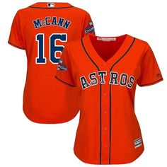 Women's Brian McCann Orange Majestic Jersey: MLB Houston Astros #16 Alternate 2017 World Series Champions Cool Base