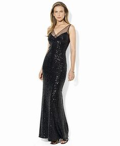 Lauren Ralph Lauren Petite Dress, Sleeveless Sequin Mesh Gown - Womens Petite Dresses - Macy's