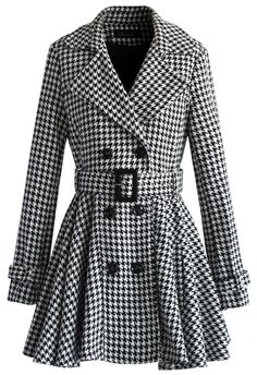 Houndstooth Belted Flare Tweed Coat - New Arrivals - Retro, Indie and Unique Fashion