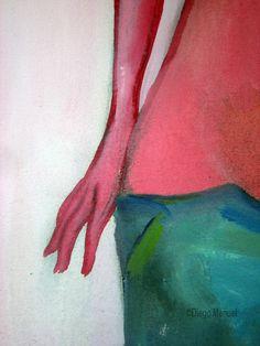 """""""Chica en short """" , acrylic on canvas,58 x 43 cm. , 2004 . de la Serie Piel del artista plastico Diego Manuel"""