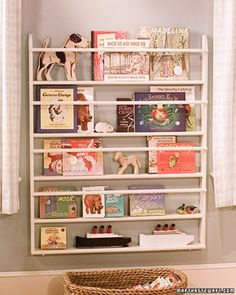 Great idea to hold books in loft area of playroom, for the wall between the windows