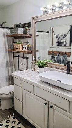 Guest Bathrooms, Rustic Bathrooms, Modern Farmhouse Bathroom, Chic Bathrooms, Master Bathroom, Farm House Bathroom, Bathroom Remodel Small, Rustic Bathroom Designs, Vessel Sink Bathroom