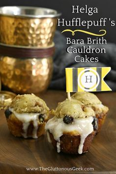 This recipe for Bara Brith Cauldron Cakes, made with dried blueberries and apricots, is inspired by Hogwarts Founder Helga Hufflepuff. Recipe by The Gluttonous Geek.