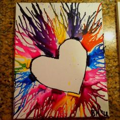 LOVE melted crayon art is beautiful. Click through for other melted crayon art ideas. Cute Crafts, Crafts To Do, Crafts For Kids, Arts And Crafts, Diy Crafts, Crayon Crafts, Crayon Ideas, Crayon Heart, Ecole Art