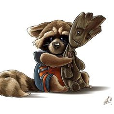 James Gunn Shared This Utterly Adorable Rocket And Groot Art ← these two are so cute