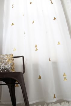 My Sister's Suitcase: DIY Curtains with a Metallic Twist. gold heat transfer vinyl