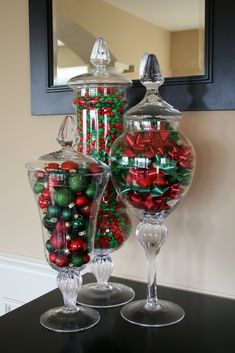 Candy, ornaments and bows all done in green and red. How pretty, simple & inexpensive!