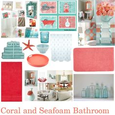 Our New Beachy Bathroom Monogram Wall Pink Tan Grey Home - Coral colored bath rugs for bathroom decorating ideas