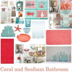 """Coral and Seafoam Bathroom"""