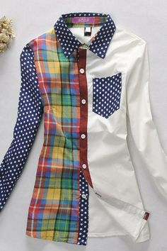 Blouse crafted in cotton blend fabric, featuring asymmetric multi color check detail, polka dot print detail to collar, chest pocket, single sleeve and cuff, stitching to trims all in a relaxed fit.