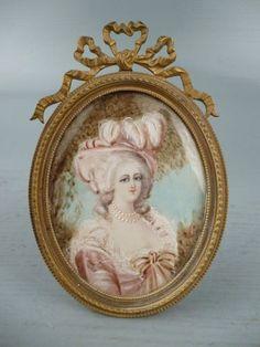 Old Signed Miniature Portrait Painting in Bronze Easel back Frame   eBay