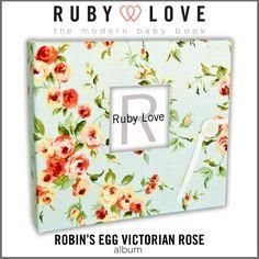 Ruby Love Modern Baby Memory Book - Robins Egg Victorian Rose