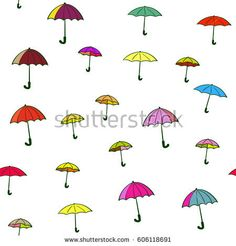 Seamless background of multicolored umbrellas, Happy rainy weather concept