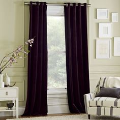 Velvet Window Panel - Mulberry   west elm for our living/dining room? Aubergine is almost a neutral, right? :)