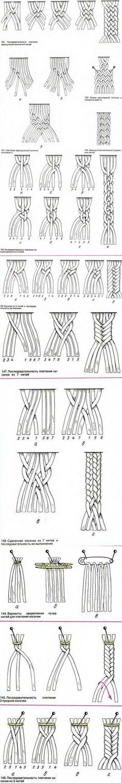 Макраме для начинающих. Схемы косичек / Макраме, схемы плетения для начинающих, фото, изделия / КлуКлу. Рукоделие - бисероплетение, квиллинг, вышивка крестом, вязание