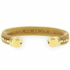 Gold Bonded Mesh Cuff Bracelet in Goldtone. Modern sleek and stylish this gold tone Modern Mesh Cuff will keep your jewelry closet super fresh. Bonded G Fashion Bracelets, Jewelry Bracelets, Fashion Jewelry, Jewelry Box, Gold Jewellery, Jewelry Accessories, Jewelry Making, Bangles, Jewelry Closet