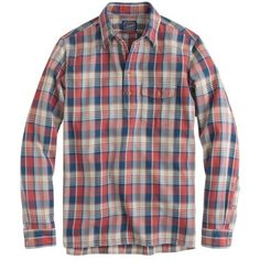 J.Crew Flannel popover in navy plaid ($80) ❤ liked on Polyvore featuring men's fashion, men's clothing, men's shirts, men's casual shirts, mens plaid button down shirts, mens plaid flannel shirts, mens plaid button up shirts, mens navy blue button up shirt and mens button down shirts