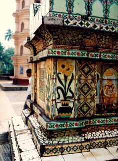Temple, Goa, India by MissMoe Tile Art, Mosaic Tiles, A As Architecture, Mother India, Eclectic Bathroom, Iron Work, Handmade Tiles, Textures Patterns, Street Art