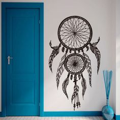 Art new design home decor vinyl dream catcher wall stickers cheap house decoration colorful religion decals in family rooms Simple Wall Paintings, Creative Wall Painting, Wall Painting Decor, Diy Wall Art, Home Decor Wall Art, Wall Art Designs, Paint Designs, Wall Design, Dream Catcher Drawing
