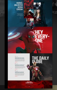 Marvel / Civil War Content Hub ConceptThis project was made to be a common place for fans where they could find everything about theirfavorite Marvel movie heroes, be a part of a community and get access to exclusive content first by simply being up t… Website Design Inspiration, Landing Page Inspiration, Graphic Design Inspiration, Graphisches Design, Web Design Trends, Design Blog, Game Design, Mise En Page Web, Interface Design