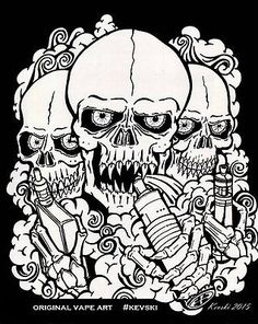 Vape T-shirts-Gildan Premium/Screen Print -Original design,vape art by Kevski