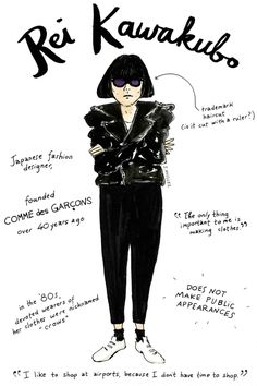 Rie Kawakubo - An Illustrated Guide To Fashion's Biggest Icons, by Joana Avillez