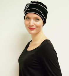 Chemo headwear, turban, chemo hat - pretty, stylish, cancer patient hats in black and white, available in sizes   more colours by Suburban Chemo Hats, $55.00 USD