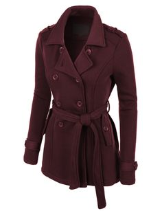 LE3NO Womens Classic Double Breasted Pea Coat Jacket with Pockets