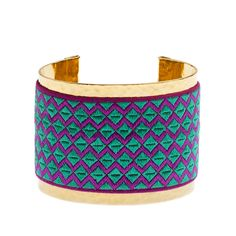 Make a bold statement with our Gold Cuff with Emerald and Magenta Embroidery! #fairtrade